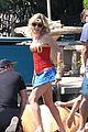 julie bowen dresses as wonder woman paddles in bread bowl canoe 08