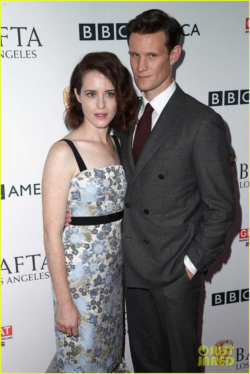 claire foy matt smith step out for bafta tea party 023958561