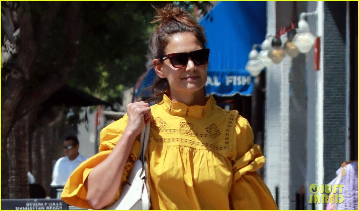 katie holmes yellow blouse studio city 043949790
