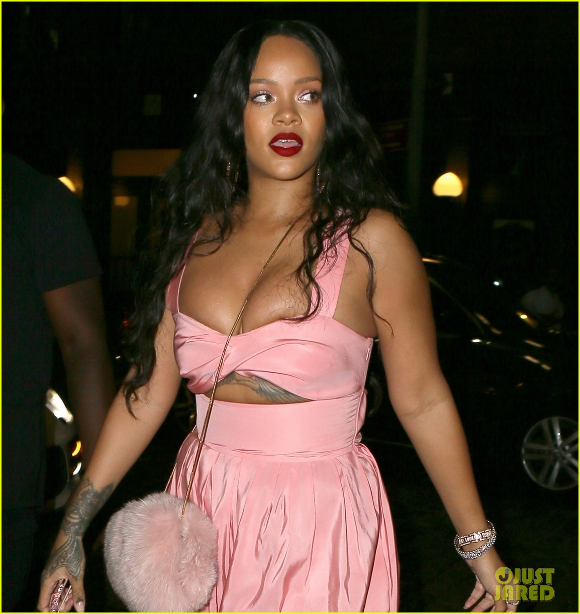 rihanna wears pink jumpsuit in brooklyn 083958656