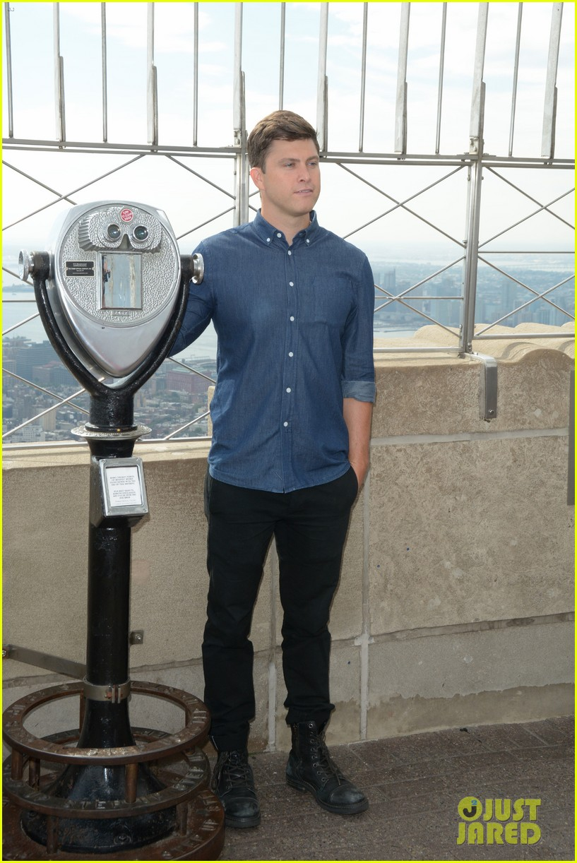 colin jost lights the empire state building in nyc 123968890