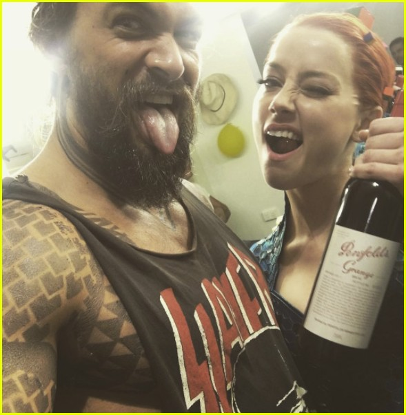 Jason Momoa Cheated: Jason Momoa & Amber Heard Celebrate Wrapping 'Aquaman