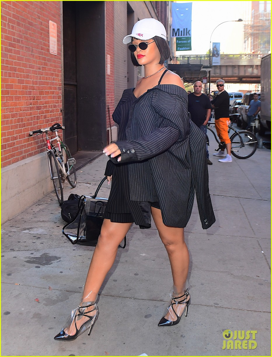 rihanna wears two blazers stitched together into a dress 013975329