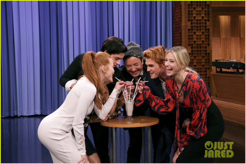 riverdale cast miley cyrus family face off in hilarious tonight show game show 043967995