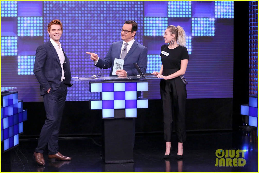 riverdale cast miley cyrus family face off in hilarious tonight show game show 073967998