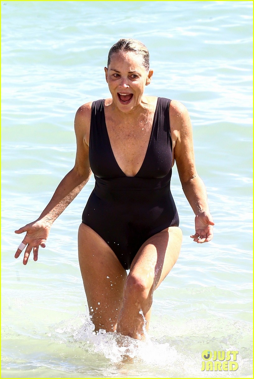 Sharon Stone in Bikini Top with her boyfriend at the beach in Miami Pic 15 of 35