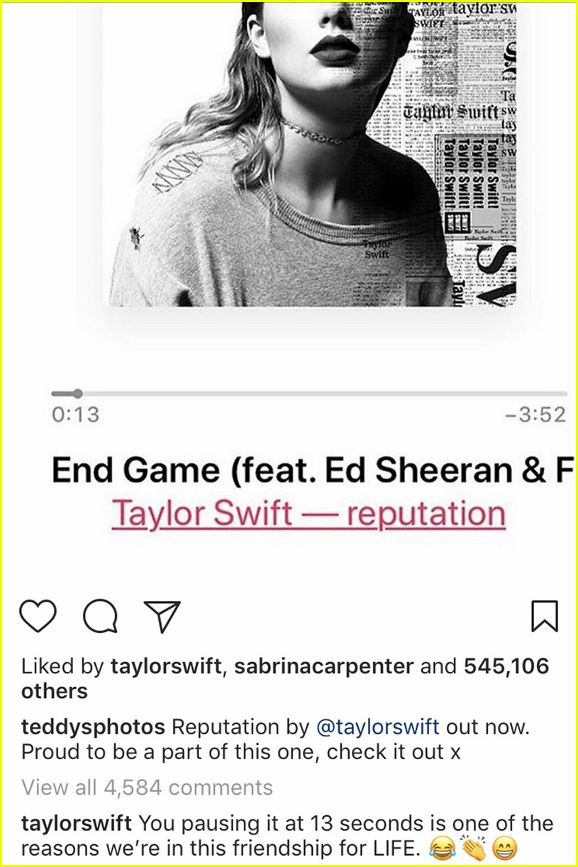 celebrites react to taylor swifts reputation album see their posts 013985579