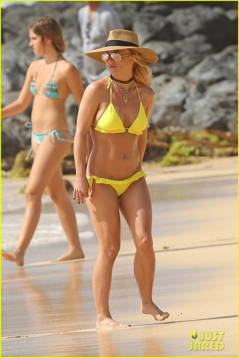 britney spears hits the beach in hawaii in a yellow bikini 104014009