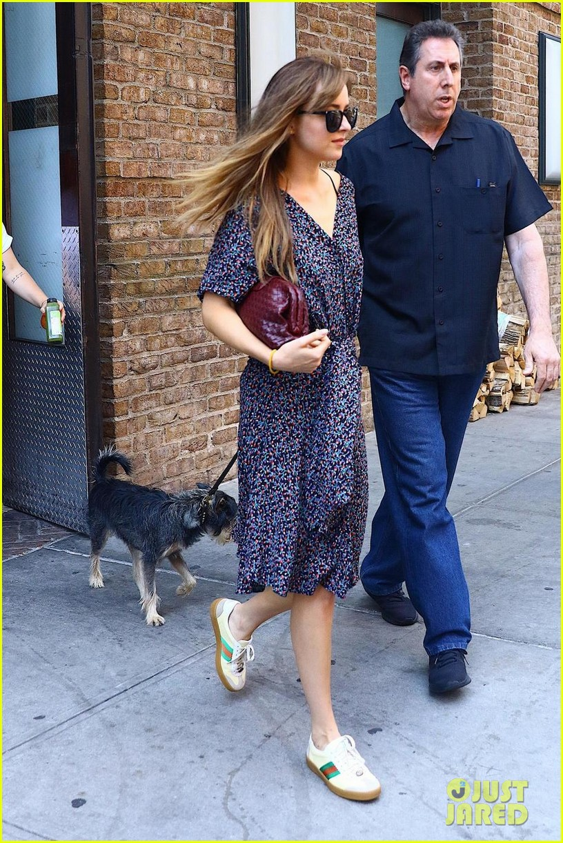 dakota johnson dons printed dress while taking her pup for a stroll 014117653