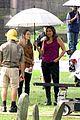 mariska hargitay braves the rain on law order svu set 05