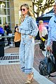 heidi klum pairs double denim outfit with snakeskin print heels 05