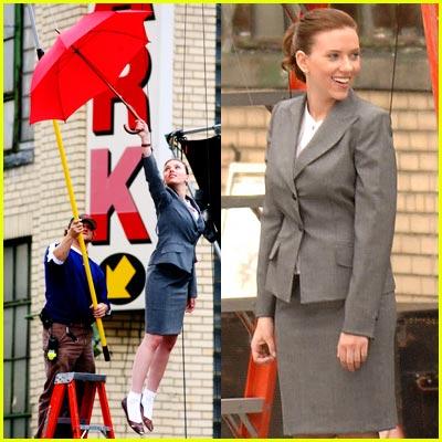 Scarlett Johansson's Flying Umbrella