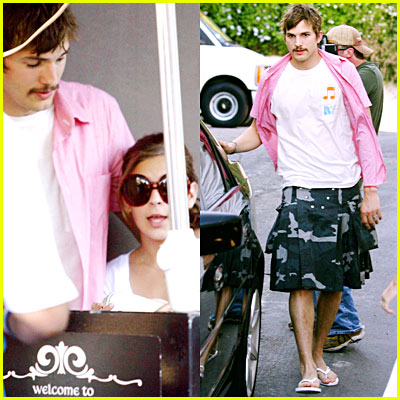 Ashton Kutcher Grows Mustache, Wears Kilt