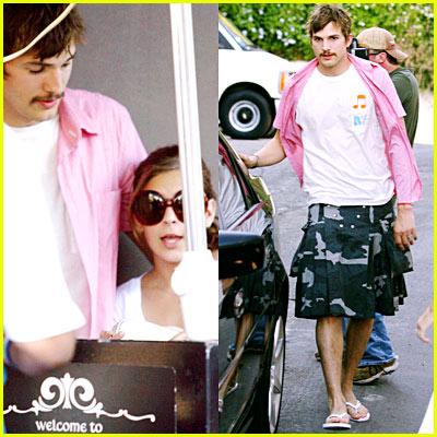 Ashton Kutcher Grows Mustache, Wears Kilt