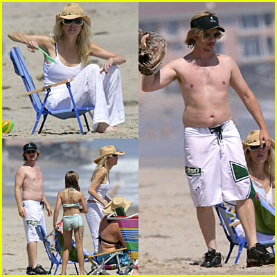 Heather Lockear & David Spade On The Beach