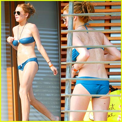 Lindsay Lohan Drips in Wet Bikini