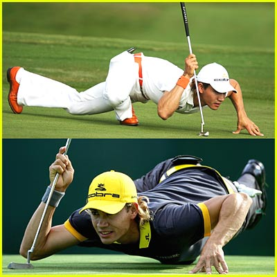 Crouching Golfer, Hidden Golf Ball