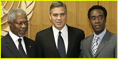 Clooney and Cheadle at Darfur Conference