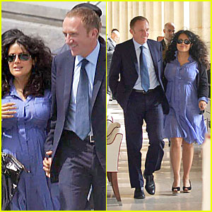 Salma Hayek: Baby Bump in Blue