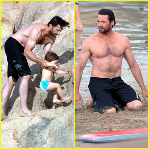 Hugh Jackman's Beach Bonding With Kids
