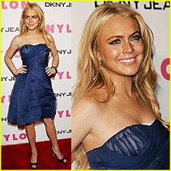 Lindsay Lohan's Bra Pops Out
