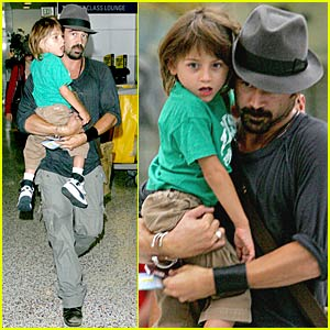 Colin Farrell & Son James Fly Home