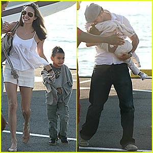 Brad & Angelina's Round-Trip Helicopter Ride