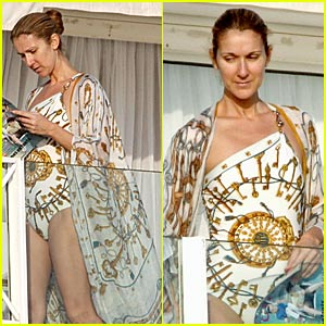 Celine Dion Has Swimsuit Style