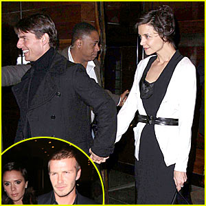 Tom & Katie Dine At Nobu With The Beckhams