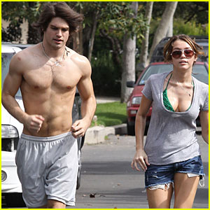 Miley Cyrus Goes Justin Gaston Shirtless Jogging