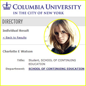 Emma Watson To Attend Columbia University?