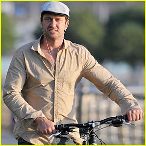 Gerard Butler Breaks For Biking
