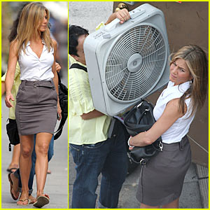 Jennifer Aniston Cools Down With Floor Fan