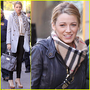 Blake Lively in Burberry: Warm and Fuzzy