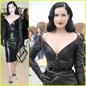 Dita Von Teese Dons Domina Leather at Dior
