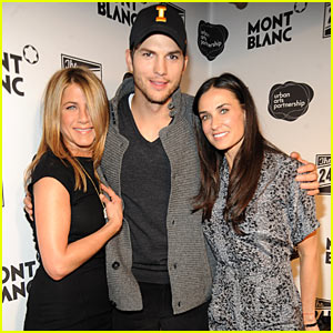 Jennifer Aniston & Demi Moore Sandwich In Ashton Kutcher
