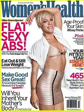 Pink Covers Women's Health Mag January 2010