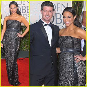 Paula Patton & Robin Thicke - Golden Globes 2010 Red Carpet