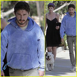 Shia LaBeouf & Carey Mulligan: Out with Brando the Bulldog!