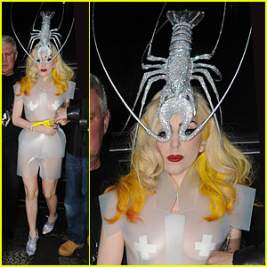 Lady Gaga Wears a Lobster Headpiece -- Bedazzled!