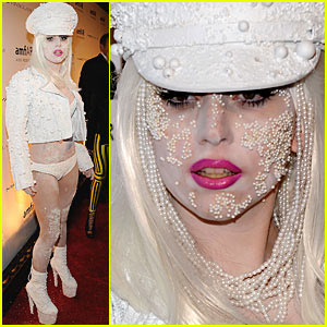 Lady Gaga Wears Pearls... On Her Face