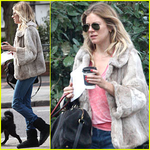 Sienna Miller Takes A Stroll with Her Furry Friend