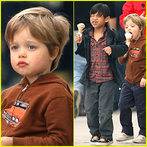 Pax &#038; Shiloh Jolie-Pitt: Ice Cream Cuties