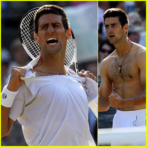 Novak Djokovic Rips Off Shirt During Wimbledon Win