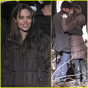 Angelina Jolie: Kiss Behind the Camera with Brad Pitt!