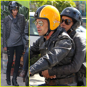 Halle Berry & Olivier Martinez Bike to Brunch