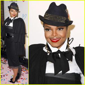Janet Jackson: Mustache at Lanvin Halloween Extravaganza!