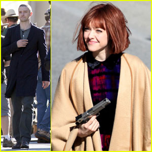 Justin Timberlake & Amanda Seyfried: Wigs & Guns for 'Now'