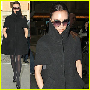 Victoria Beckham: High Cut Collar at LAX!