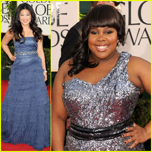 Amber Riley & Jenna Ushkowitz - Golden Globes 2011 Red Carpet